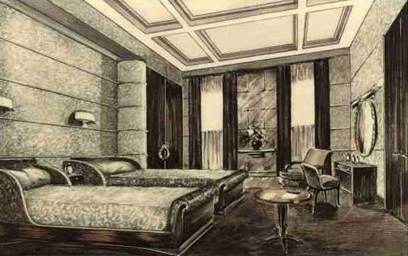 De Haute Qualite Paul Iribe   Illustration U0027Le Normandieu0027   La Chambre Du0027un Appartement De  Luxe   1935
