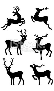 Six deer silhouettes Royalty Free Stock Vector Art Illustration