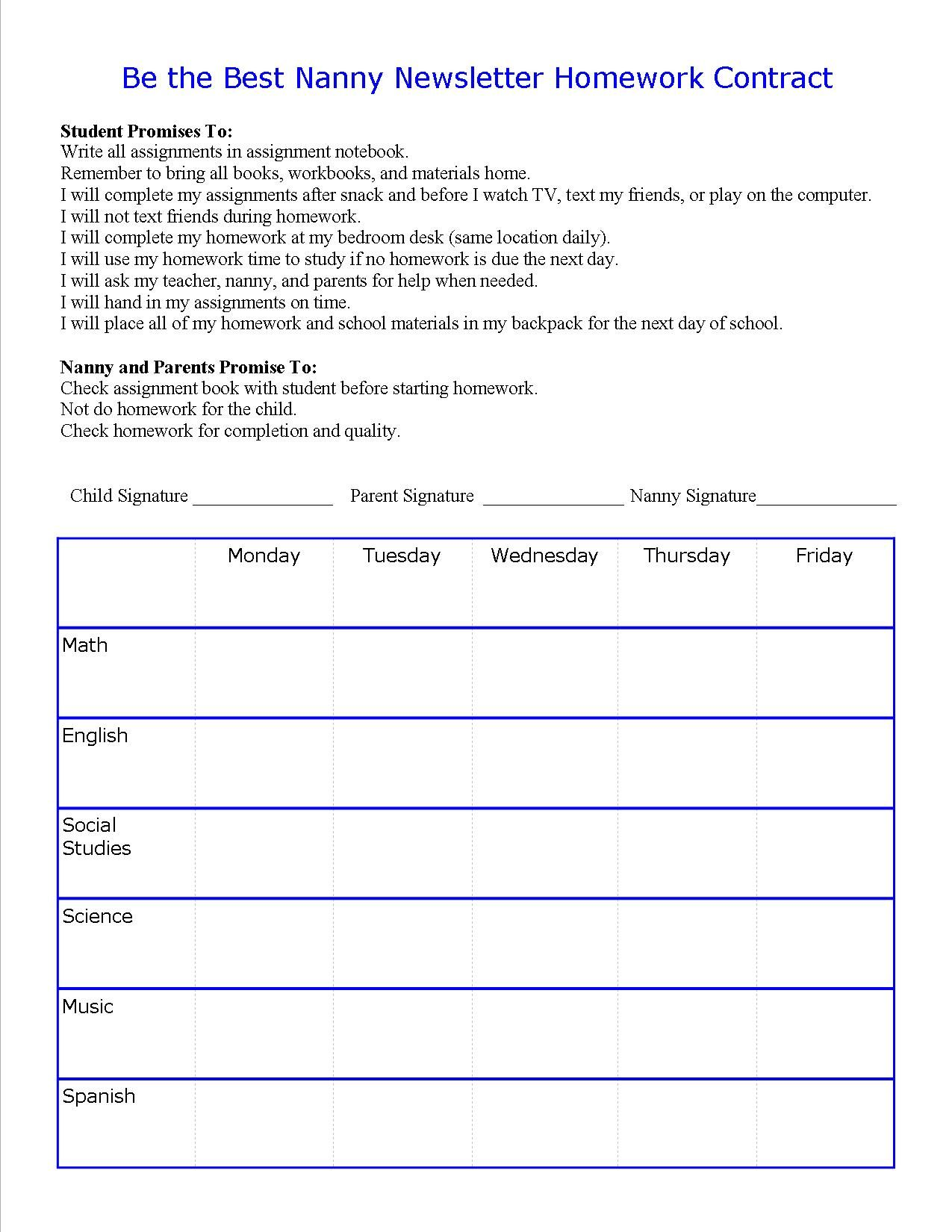 Nanny Child Homework Contract Nannies And Au Pairs Are Essential Homework Helpers Make A