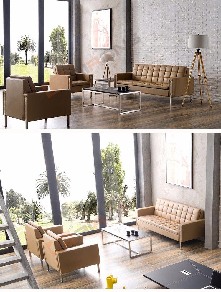 Customized Modern Office Sofa Design 4 Pieces Brown Pu Leather Office Sofa Set Sofa Design Office Sofa Design Office Sofa