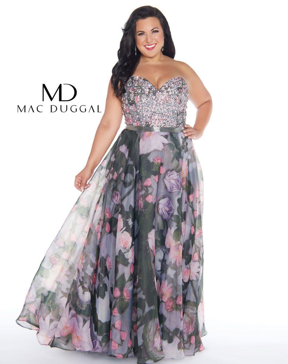 Fabulouss water lily print plus size prom dress | Prom 2018 ...