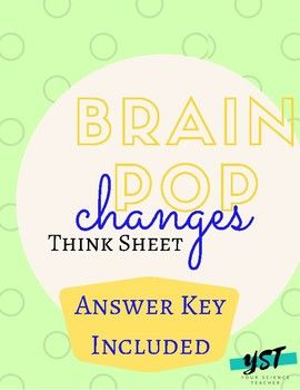 DISTANCE LEARNING Brain Pop: Changes Think Sheet/Guided ...