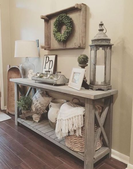 Clear lamp and lantern for foyer table | Farmhouse console table
