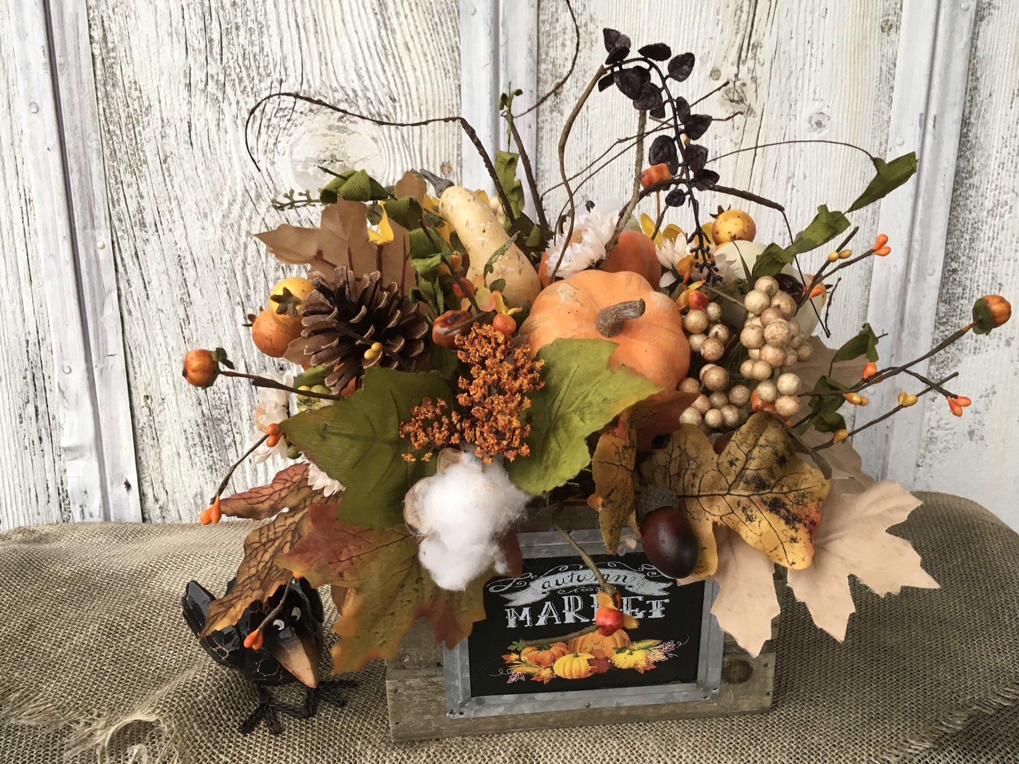 Autumn market fall pumpkin and floral arrangement etsy
