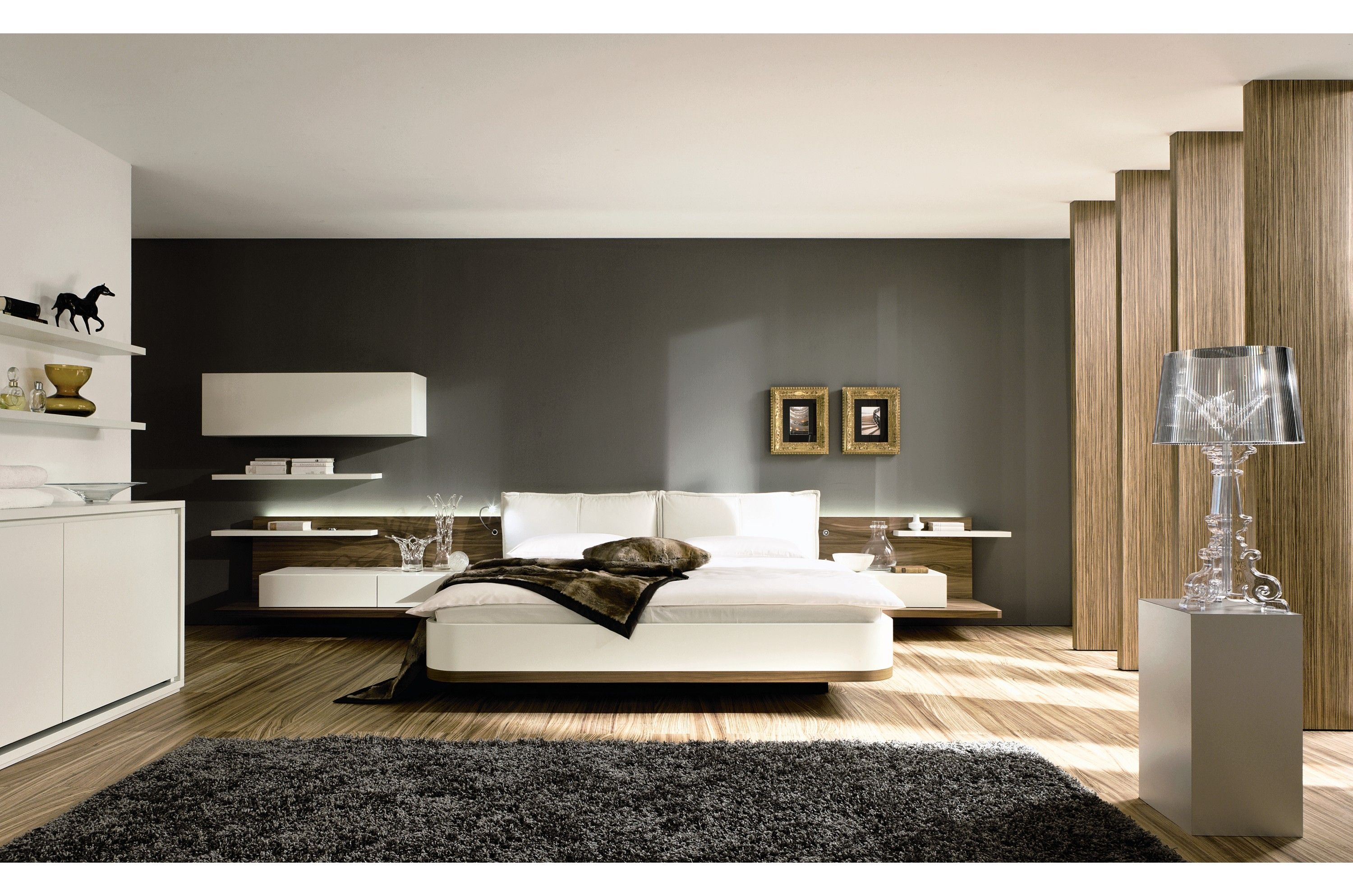 Modern bedroom accessories - Remarkable Contemporary Modern Interior Design Inspiring Contemporary Master Bedroom In White And Dark Grey Color Scheme Black Rug Unique