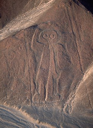 'Astronaut', the Nazca Lines,  Peru.  This one looks like an alien and there are those who believe extraterrestrials made the designs...