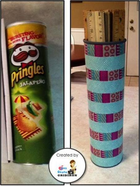 24 Awesome Teacher Hacks to Keep Your Classroom Under Control - Pringle box transformed into ruler