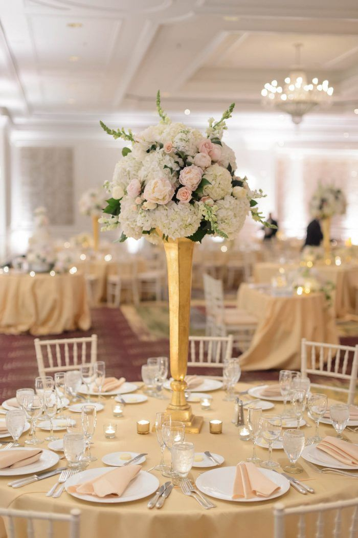Joyous ritz carlton virginia wedding tall gold centerpiece vase hydrangea centerpiece ideas ballroom wedding decor from romantic white and junglespirit Gallery