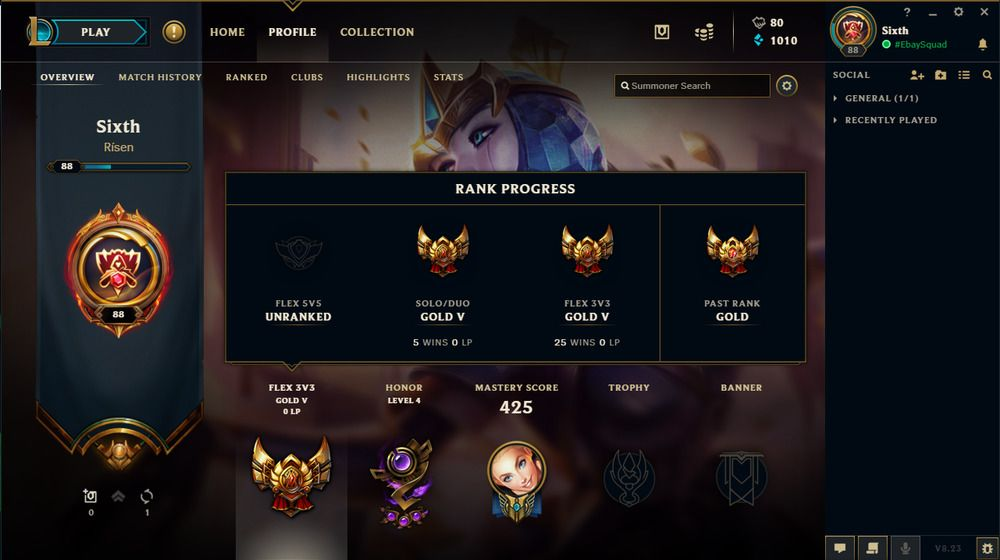 League of Legends account EUNE LVL 88, Elementalist Lux - skin [GOLD