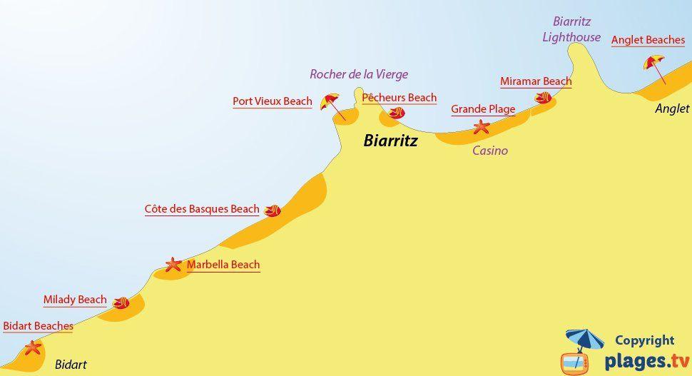 Map Of Biarritz Beaches In France Seaside Resort Marbella Beach
