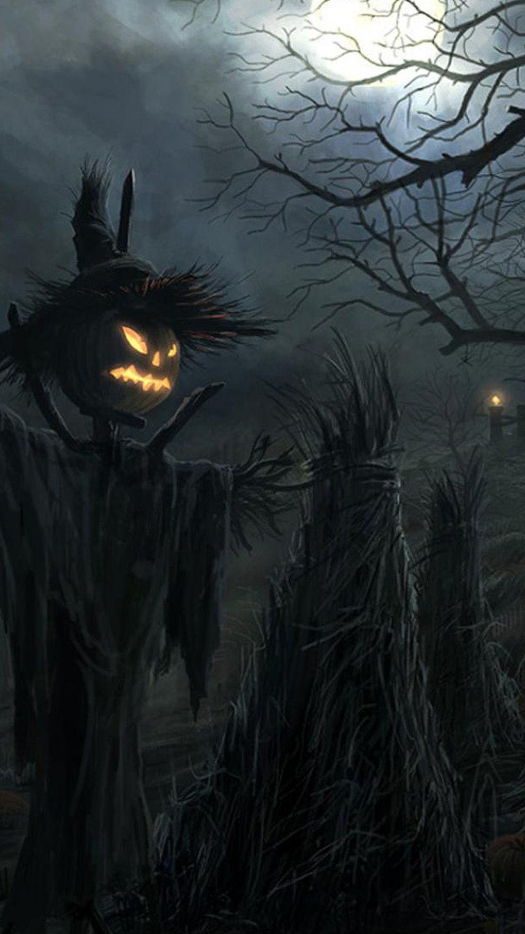 Dark Raven Scarecrow Halloween iPhone 6 & iPhone 6 Plus Wallpaper ...