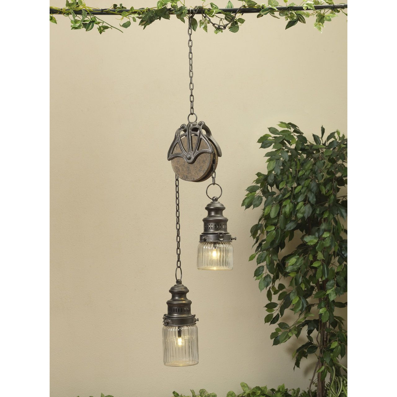 47 battery operated lighted metal and glass pulley chain