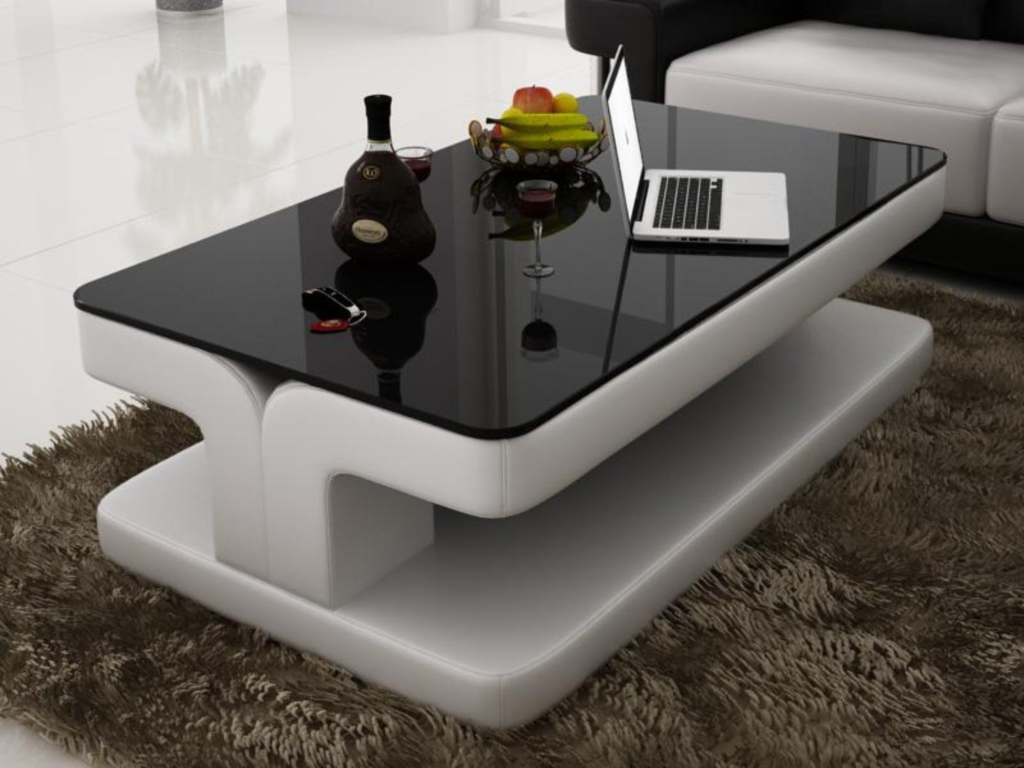 Contemporary White Leather Coffee Table W Black Glass Table Top Leather Coffee Table Coffee Table Design Modern Centre Table Living Room [ 1500 x 2000 Pixel ]