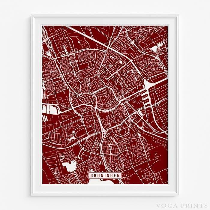 Groningen netherlands street map print groningen modern and walls groningen netherlands street map print publicscrutiny Images