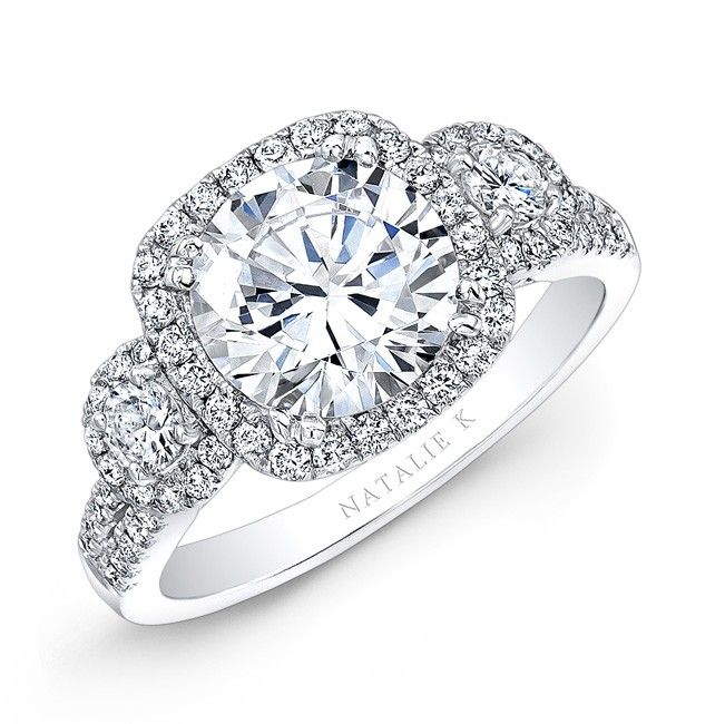 Natalie K. NK28365 - 18k White Gold Three Stone Diamond Halo Engagement Ring