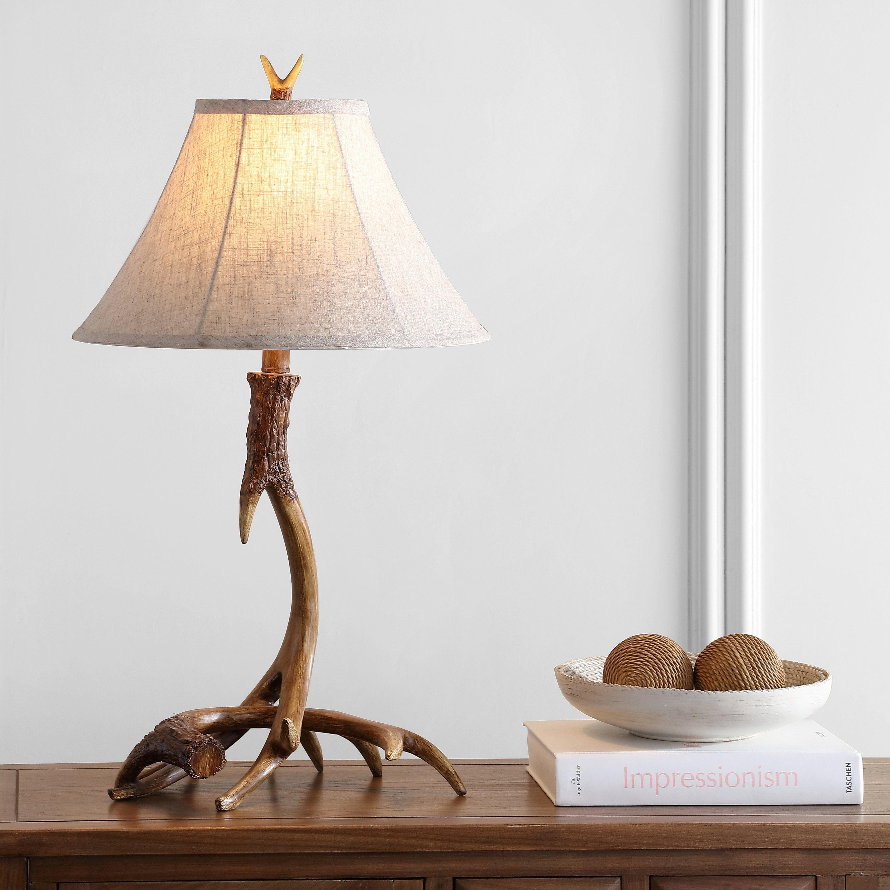 "Antler 27.5"" Rustic Resin LED Table Lamp, Brown by"