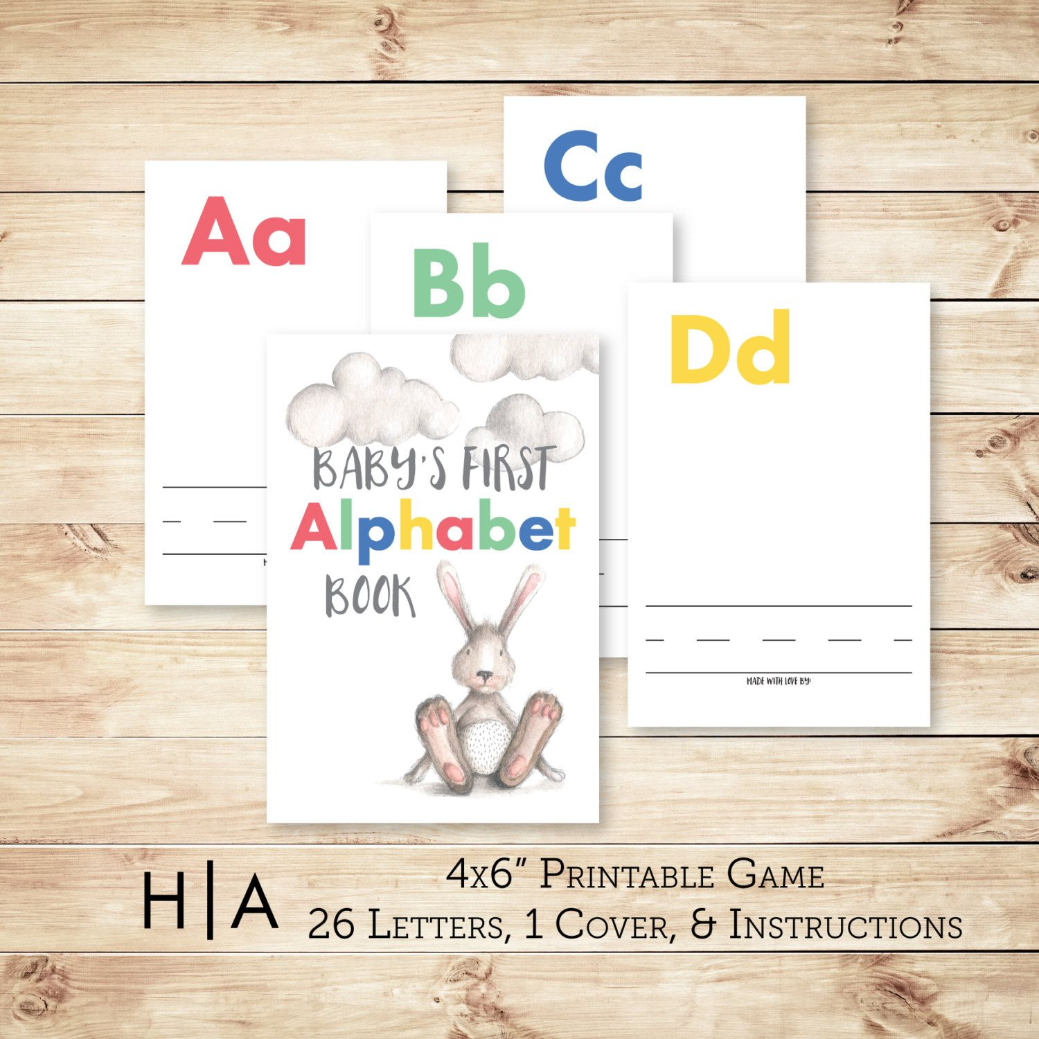 "DIY Alphabet Book Baby Shower Activity Game 4x6"" Baby s First"