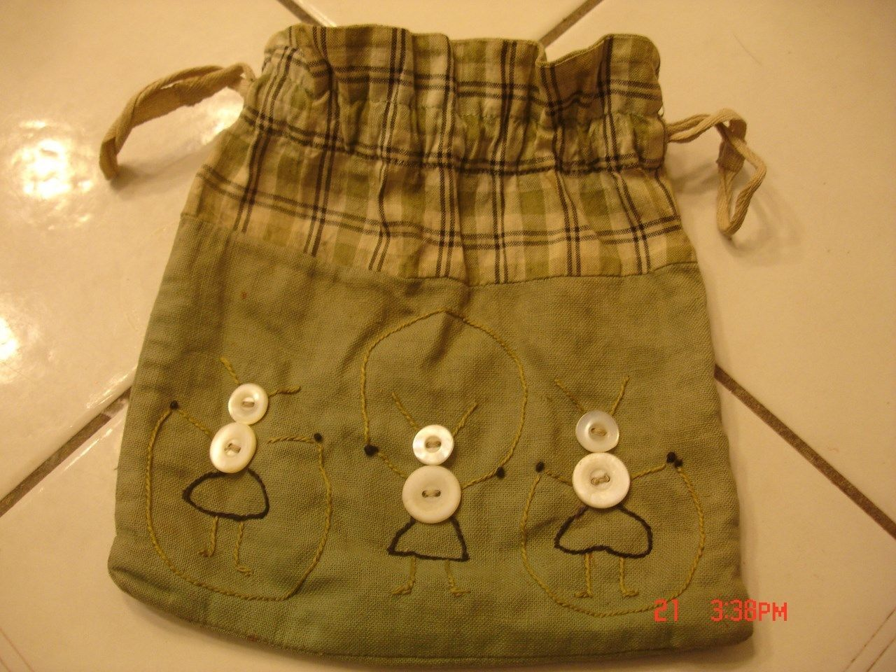 Antique Vintage Handmade Sewing Thread Button Drawstring Bag ...