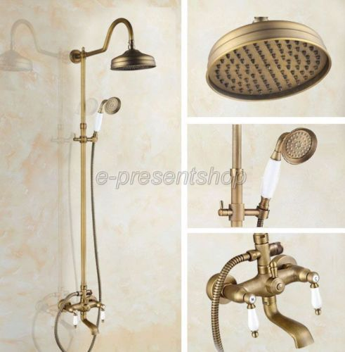 Vintage Retro Antique Brass Bathroom Shower Faucet Set Bath Tub Mixer Tap Ban805 Shower Faucet Sets Shower Faucet Bathroom Shower Faucets