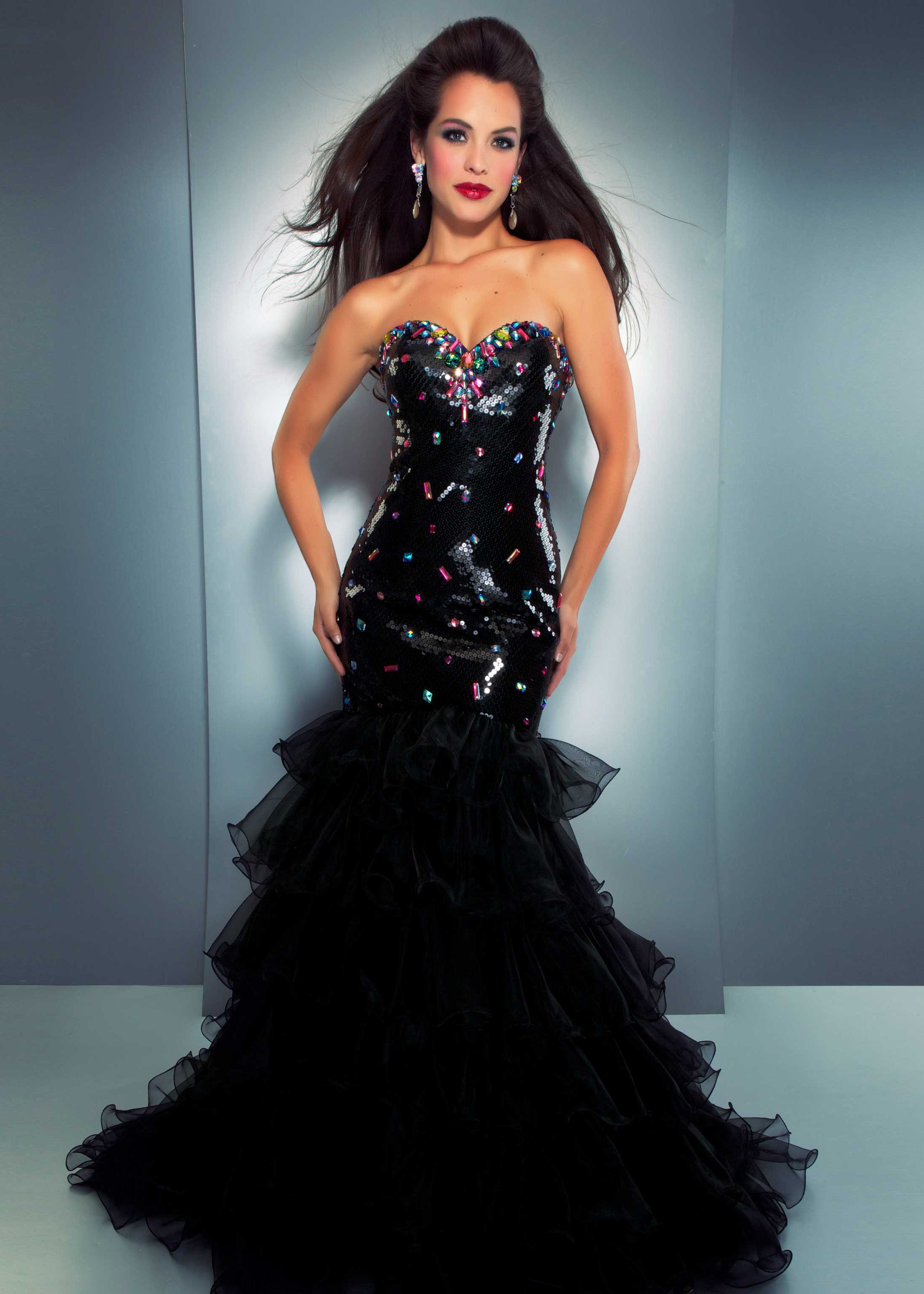 Find Cassandra Stone by Mac Duggal 6463A black multi strapless ...