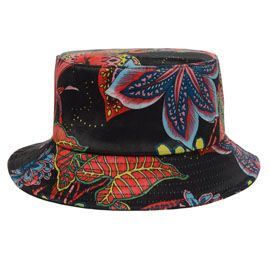 021a7f3ac0f BLACK Flat top Sun Cap Floral Bucket Hat for Women New Designer Print  Outdoor Camping Bucket