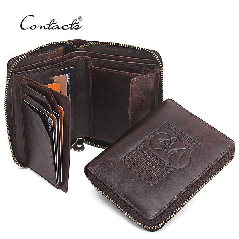 CONTACT'S 남성 지갑 정품 가죽 브랜드 디자인 지퍼 지갑 자전거 인쇄 디자이너 남성 지갑 돈 가방 동전 주머니