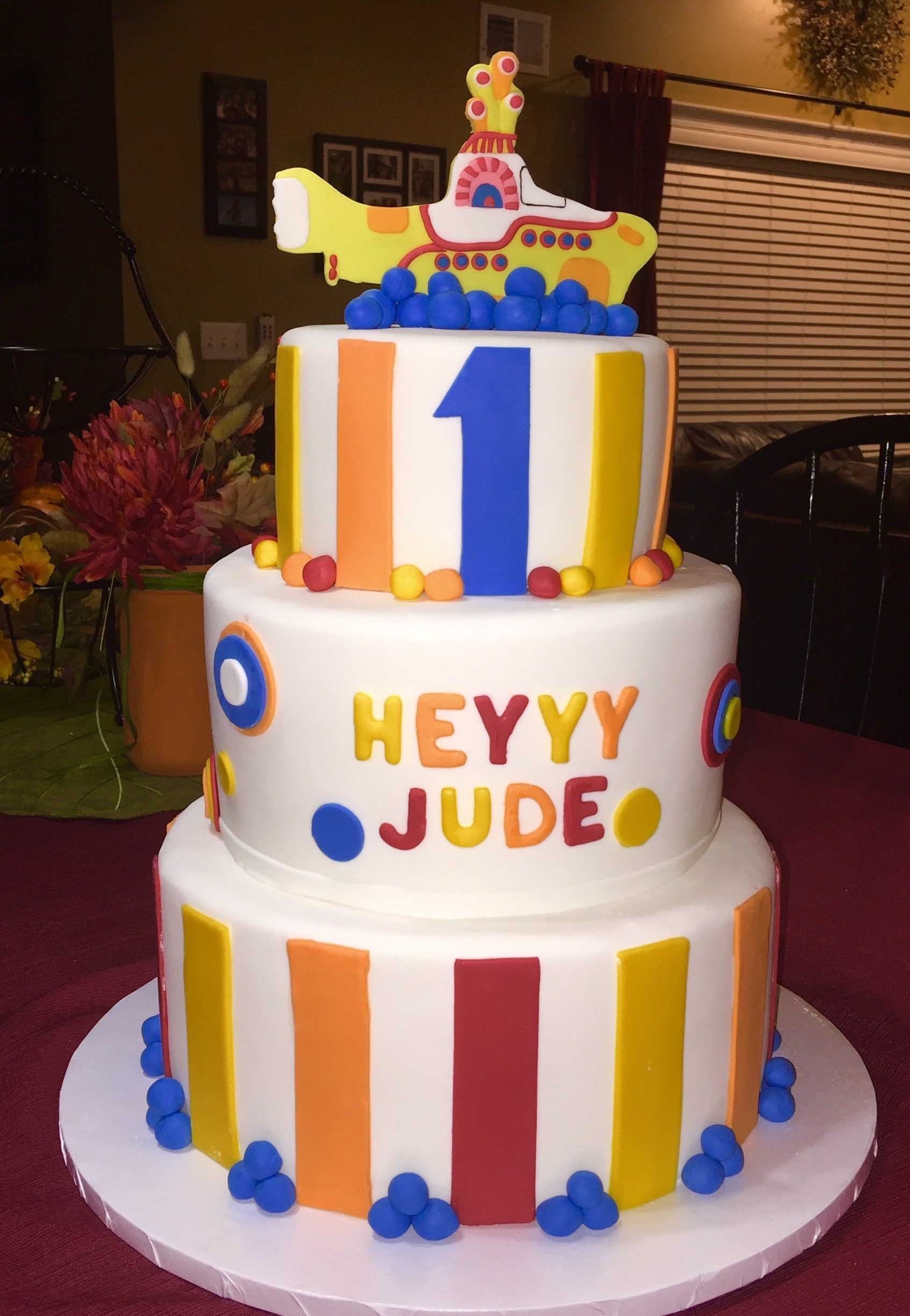 Three Tier First Birthday Cake 10 Red Velvet With