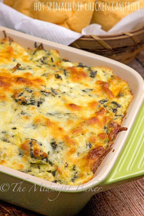 Who doesn't love hot spinach artichoke dip? Here it is as a main dish made with chicken breast!