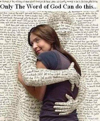 Only the #Bible, the #word of #God, can do this. Bible #hug. Living word.  God touches the #heart. #Loving #scripture. The love o… | I love books,  Books, Word of god