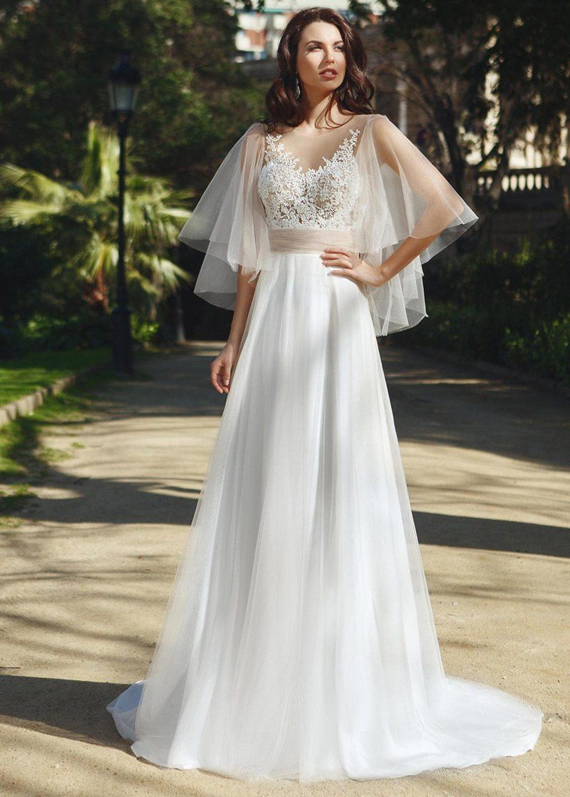 Lace Wedding Dress, Fashionable Tulle Jewel Neckline See