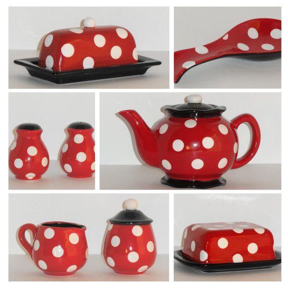 Ceramic Butter Dish In Retro Red And Black By BeautifullyPractical · Red  KitchenKitchen DishesKitchen ItemsKitchen SuppliesDisney ...