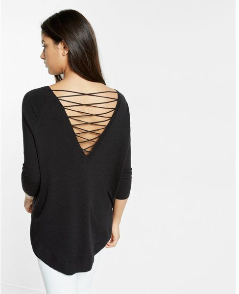 f7f2112bd3 Express lace-up back circle hem sweater