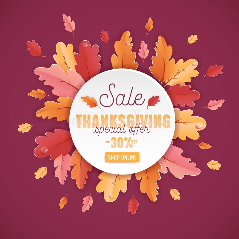 Happy Thanksgiving Sale Background Template With Beautiful Leaves Illustration F Sponsored Spons In 2020 Leaves Illustration Thanksgiving Sale Background Templates