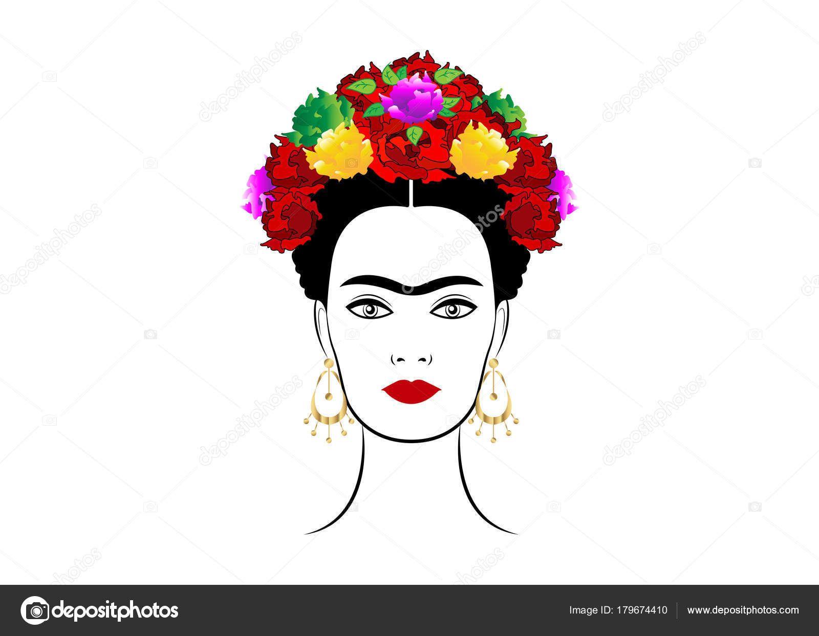 d318ee0d1c Descargar - Retrato de Frida Kahlo vector