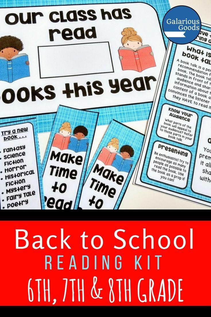 Back to school reading kit grade 6 7 8 reading