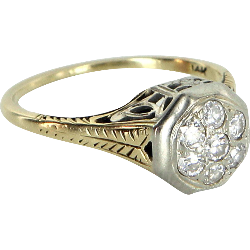 2ab60fd4f Diamond Cluster Ring Vintage Art Deco 14 Karat Gold Estate Jewelry Heirloom