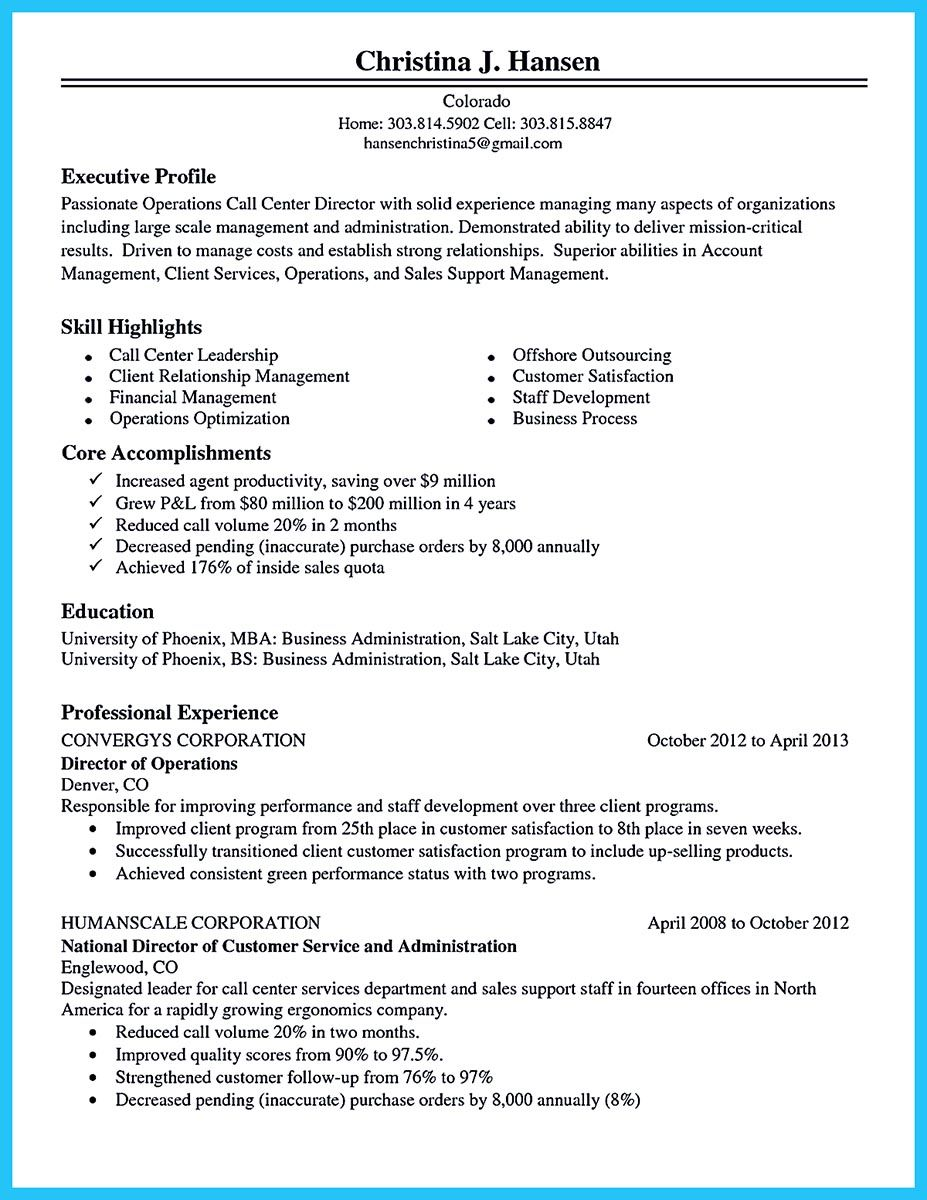 call center resume example objective