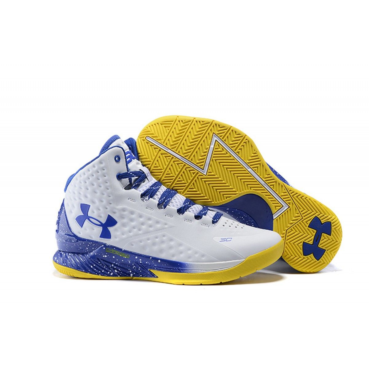 low cost e37e9 72b2c Under Armour Curry One Playoff Basketball Shoes Blue White