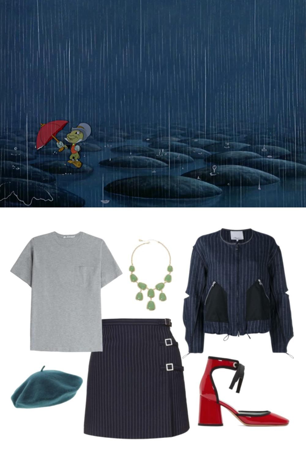 3efe7160fccb Outfit inspiration from classic Disney scenes.   Pinocchio + preppy chic  style     https