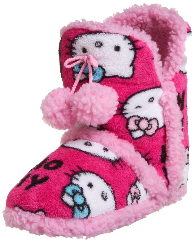 f4d16dd10 Hello Kitty slippers > woman's booties. Adorned with fuzzy pom poms . . .  pink and plush!