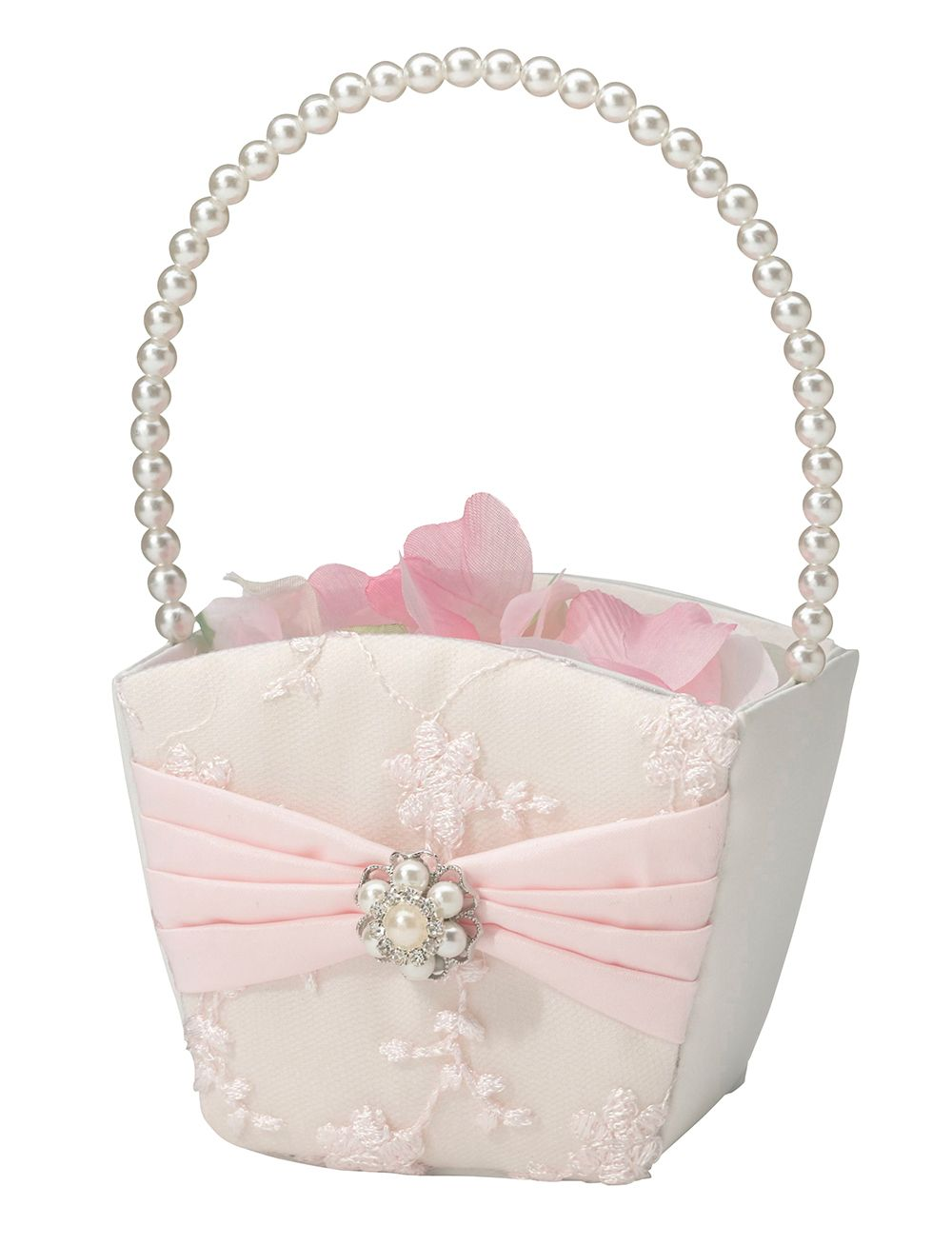 WHITE Flower Girl Basket with Organza Bow /& Faux Rhinestone Accent CHOOSE COLOR