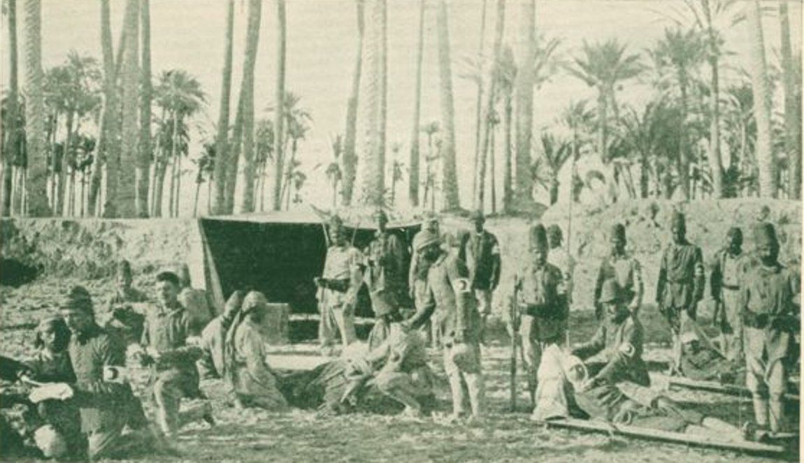 Gaza-غزة هاشم: GAZA - Late 19th, early 20th c. 7 - The Red Crescent Turkish dressing station near Gaza, during the British advance in Palestine