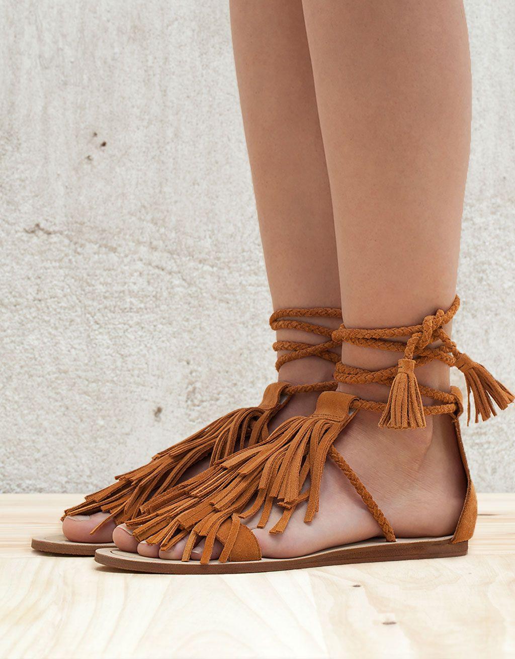 sandales plates à franges cuir - sandales plates - bershka france