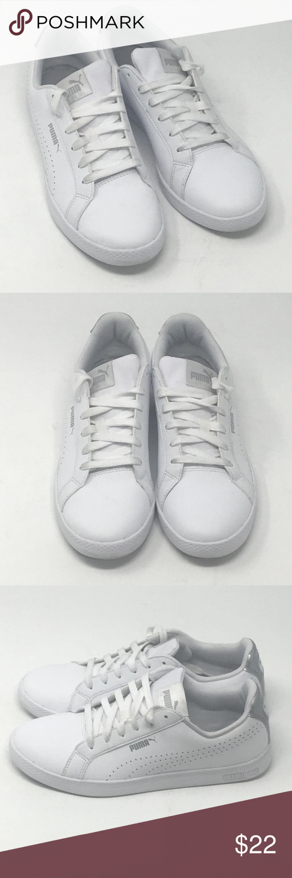 15b0dd30406a Puma Ladies  Leather Shoe Smash Perf Met White Used But in Excellent  Condition. Actually these are customer return items. These are actual  photos of shoes ...