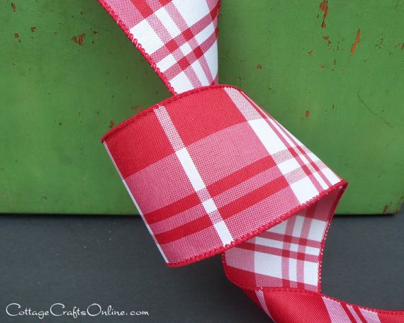 "5 Yards Christmas Red Green White Plaid Wide Wired Ribbon 4/""W"