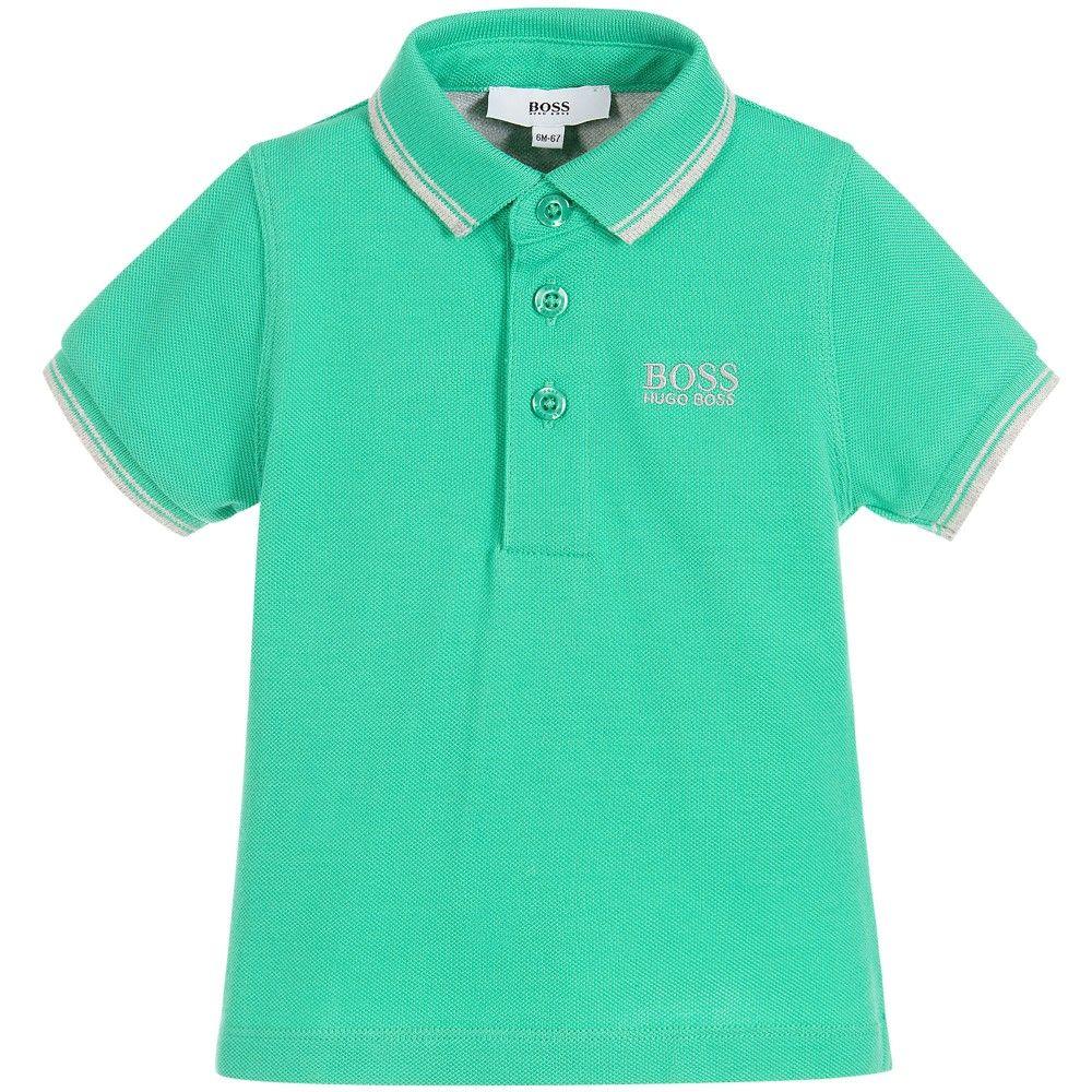 ec5f56124 BOSS Baby Boys Green Cotton Piqué Polo Shirt | Boss Kids Clothes ...