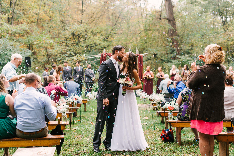 Bubble exit wedding ceremony exit ideas rainy forest wedding