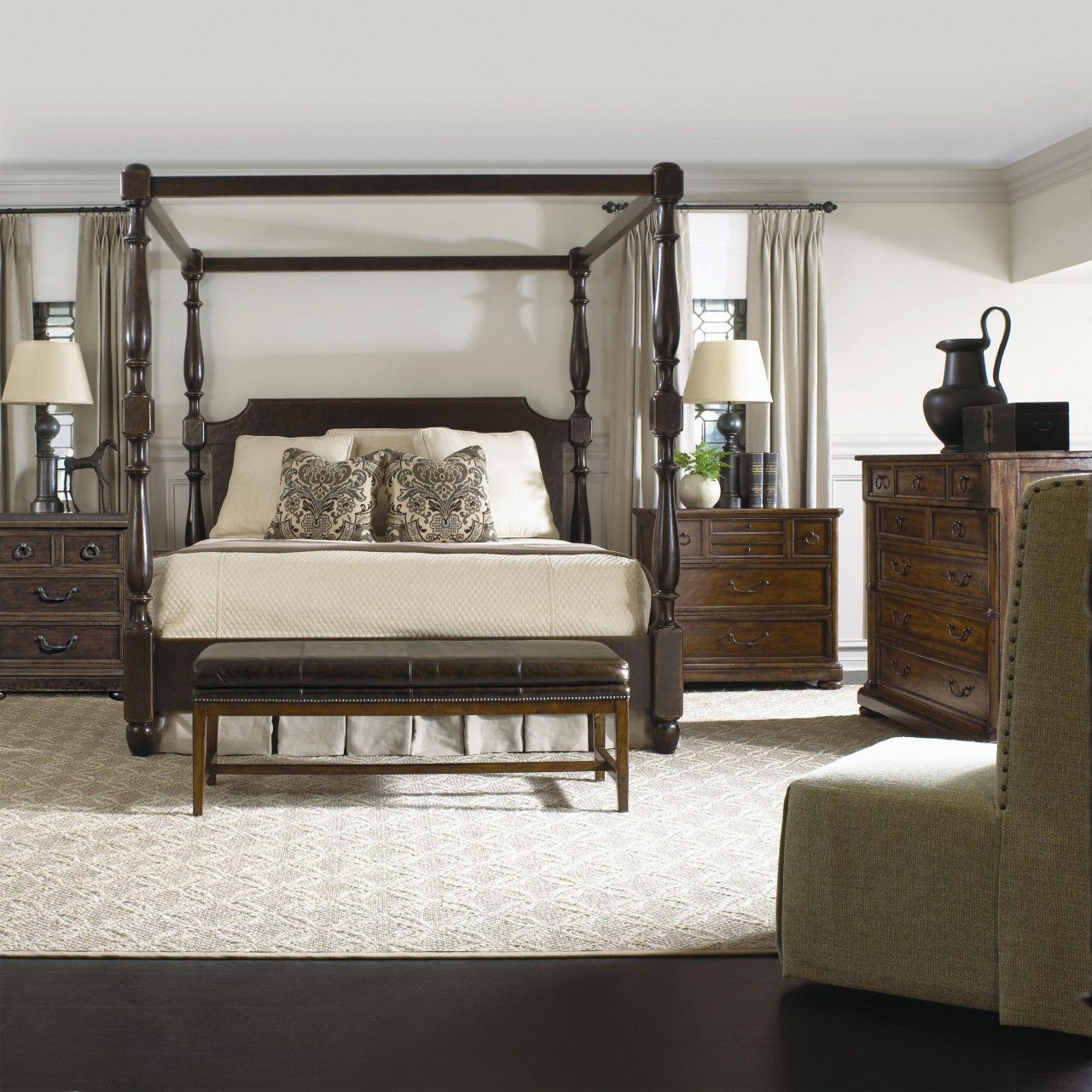 Bernhardt Vintage Patina Poster Bedroom Set with Canopy in Molasses ...