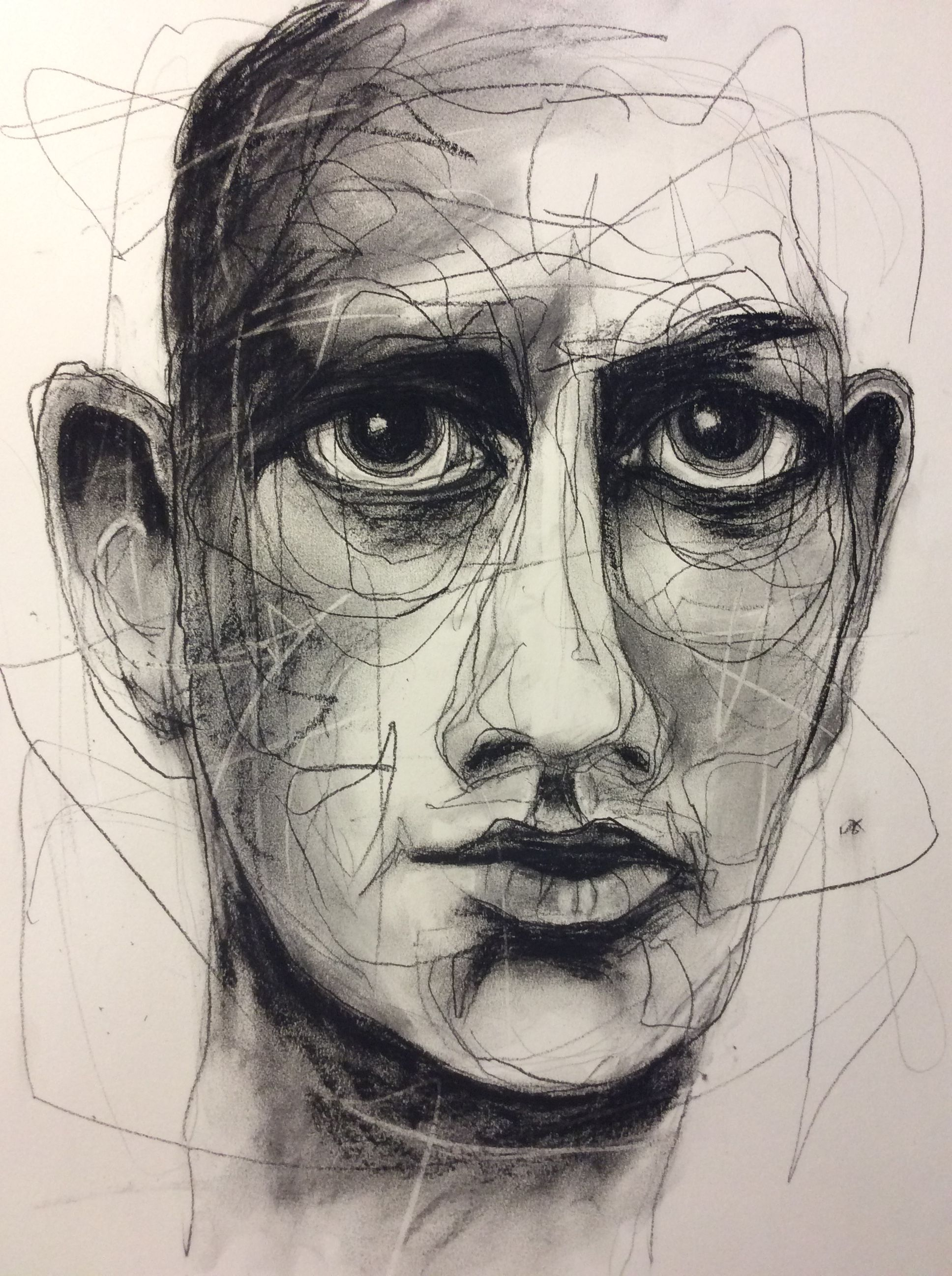 Deb Weiers Not Available Charcoal Study 8 Abstract Art Painting Distortion Art Portrait Drawing