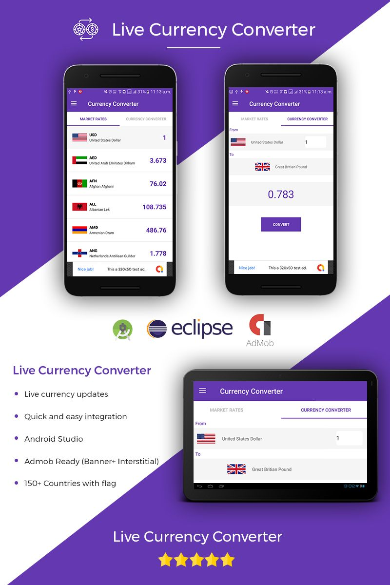 Live Currency Converter Template